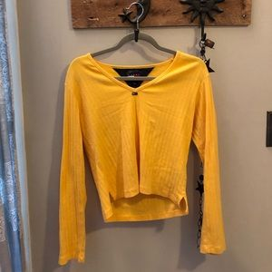 Tommy Hilfiger Jeans yellow long sleeve crop top